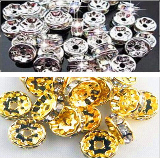 100PCS For Rhinestones Rondelle Spacer Beads 4mm 6mm 8mm 10mm Crystal