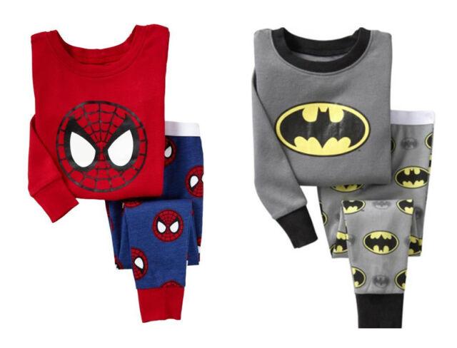 Kids Baby Boy Top Pants Spiderman Batman Pajamas Set Sleepwear Nightwear Clothes
