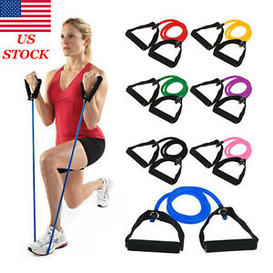 Fitness Equipments 100% True Tube Exercise Rubber Leg Arm Resistance Stretch Band Fitness Black Workout Pull Rope 10 Pcs Kit Fitness & Body Building