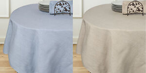 Rio-Chambray-70-034-Round-Cotton-Polyester-Linen-Table-Cloth-Two-Colors