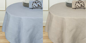 "Rio Chambray 70"" Round Cotton Polyester Linen Table Cloth - Two Colors"