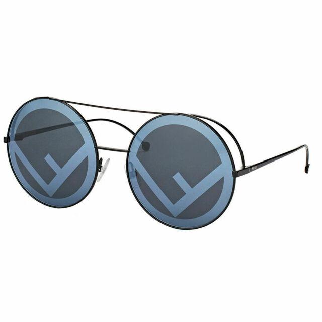 4bc04c9e9666e Fendi Run Away FF 0285 807 Black Metal Round Sunglasses Grey Lens