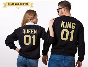 KING 01 QUEEN 01 HOODIE JUMPER MR MRS valentines day special for Couple