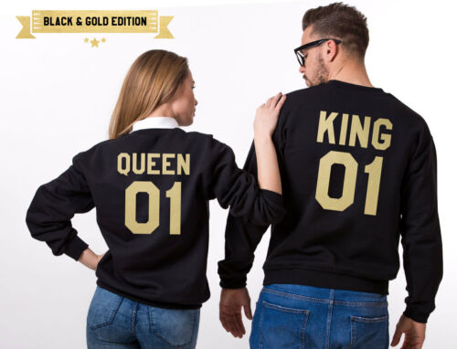 King 01 Queen 01 Couple Sweatshirts Matching Pullover Valentines Day Gift Ideas
