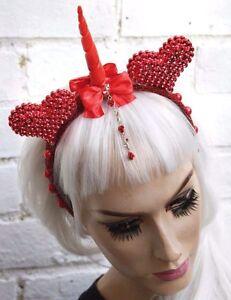 image is loading unicorn red rose diamante gem horned flower crown