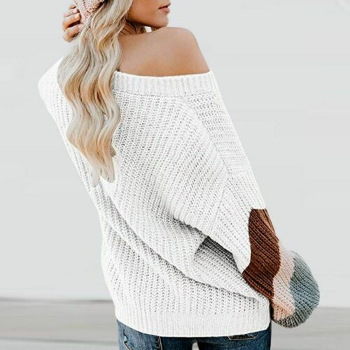 Pullover Ladies V-Neck Jumper Batwing Knit Blouse Stripe Sweater Womens Tops