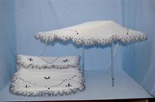 Cochecito Parasol Set para caber Coach construido Silver Cross Cochecitos En Blanco Con Azul Marino
