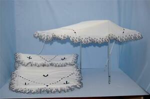 Pram-Sun-Canopy-set-to-fit-coach-built-silver-cross-prams-in-white-with-Navy