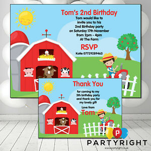 Details About Personalised Farm Yard Birthday Party Invitations Thank You Invites Boys Girls
