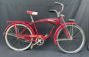 Wow Vintage 1950's Red & Black Schwinn Deluxe Hornet  Bicycle Made in Chicago
