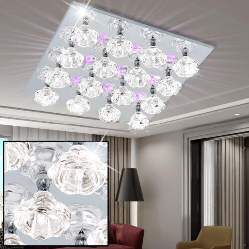 Decken Leuchte 36 Deko LED`s Blau Glas klar Blüten Wohnzimmer Big Light