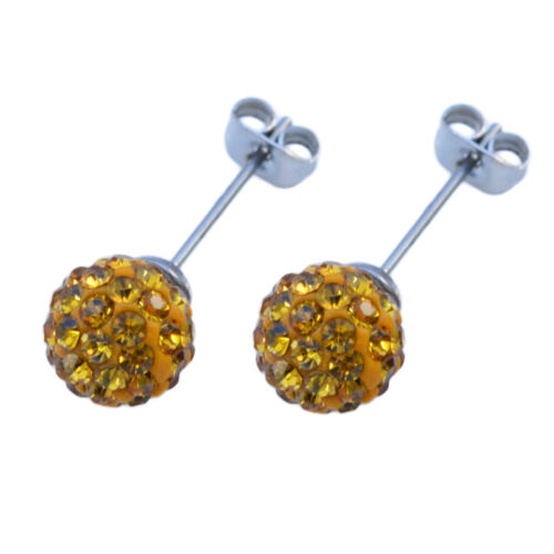 Shamballa-Kugel Ohrstecker Multi Kristall Ohrringe 8mm Paar