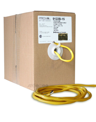 Box 99.99/% Copper 250 Feet 12 Gauge In-Wall//In-Room YELLOW Speaker Cable.