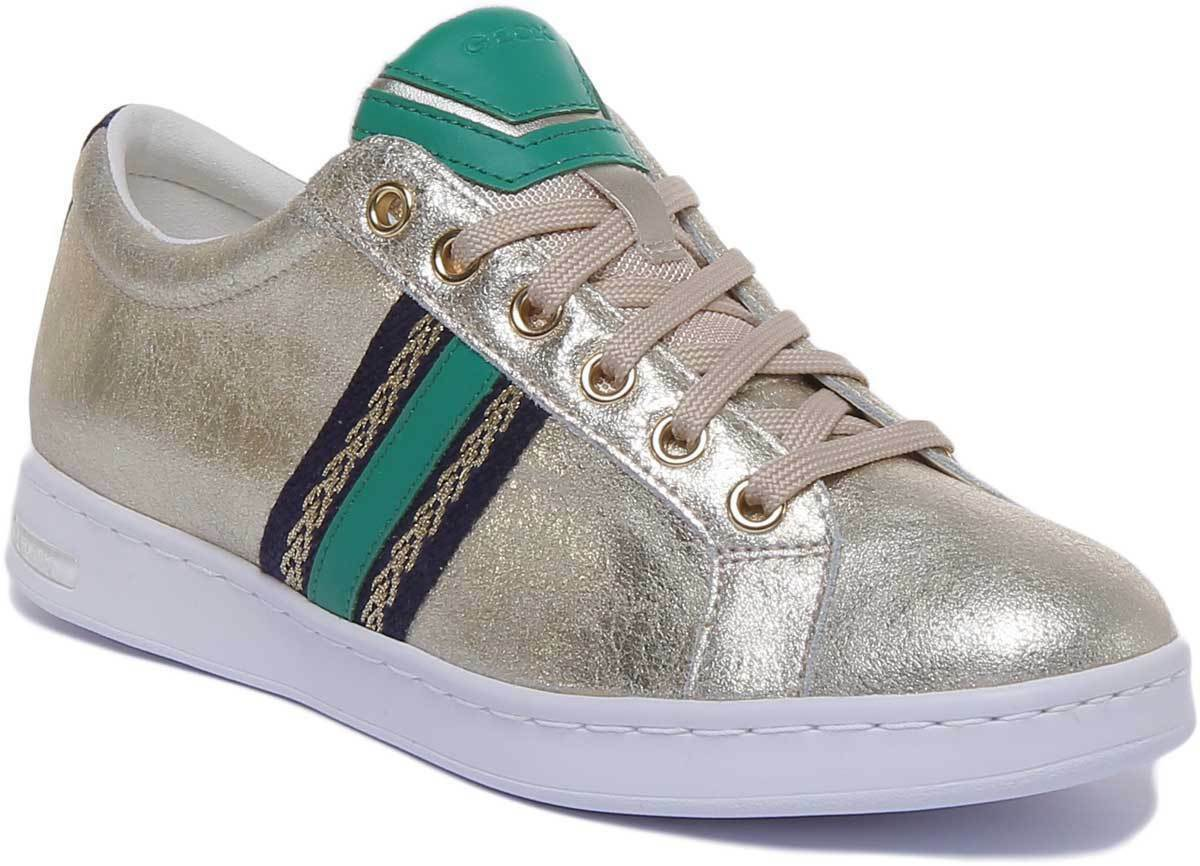 Geox Jaysen Womens gold Leather Metallic Cupsole Trainers UK Size 3 - 8