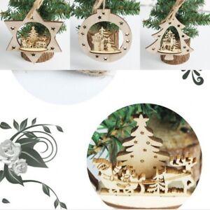 Christmas-Santa-Claus-Wooden-Pendant-Ornaments-House-Wood-Craft-Xmas-Tree-Decor