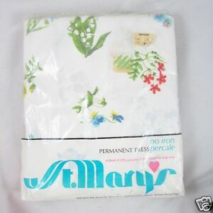 St Marys Percale Twin Flat Sheet Alpine Flowers New NIP USA Made Vintage Floral