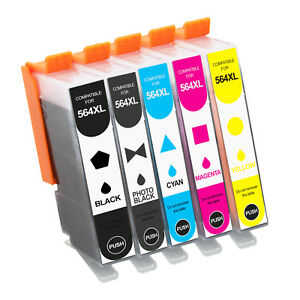 5Pcs HP 564XL Ink Cartridge For Printer HP  PhotoSmart 5511 D5445 7520 7525 7510