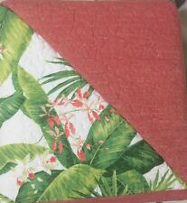 TOMMY BAHAMA Full Queen Quilt 3 Set Green Orange Floral AREGADA DOCK Tropical