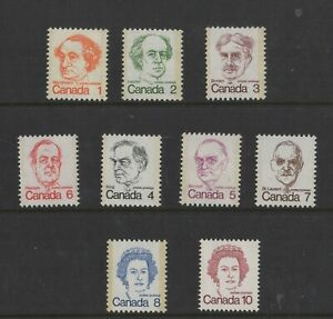 CANADA NO 586 TO 593A,  CARICATURE DEFINITIVES, MINT NH