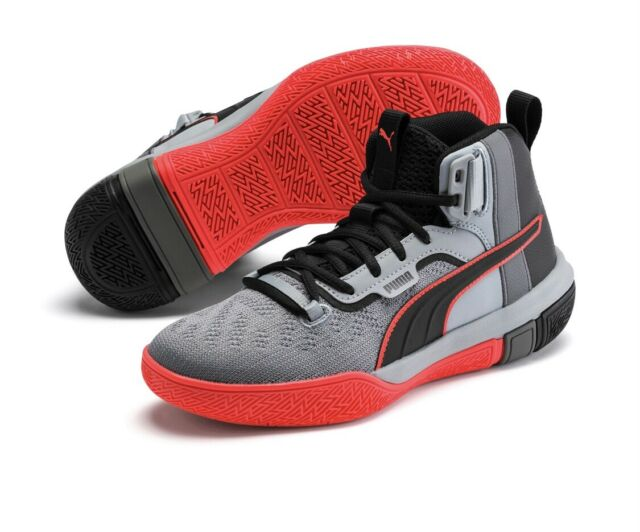 Puma Legacy Disrupt Black/Red/Grey Basketball Shoes 193018-01, Men's Size 9 NEW
