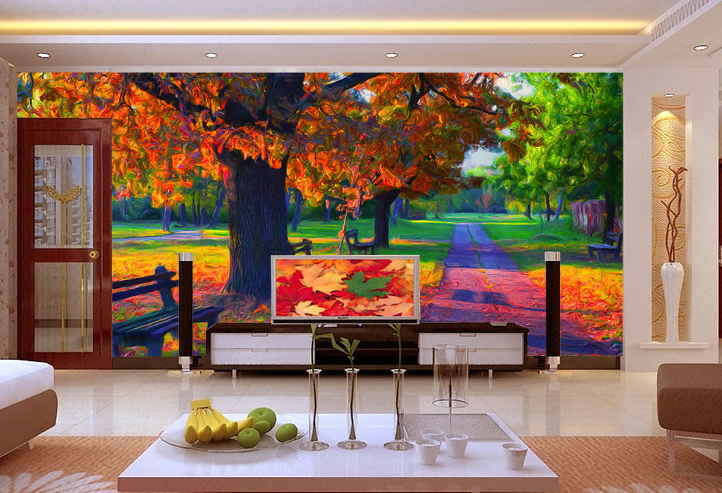 3D Trees And Benches Wall Paper Wall Print Decal Wall Deco Wall Indoor Murals