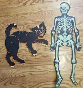 Vintage-Articulated-Halloween-Decorations-Black-Cat-and-2-ft-Green-Skeleton-USA