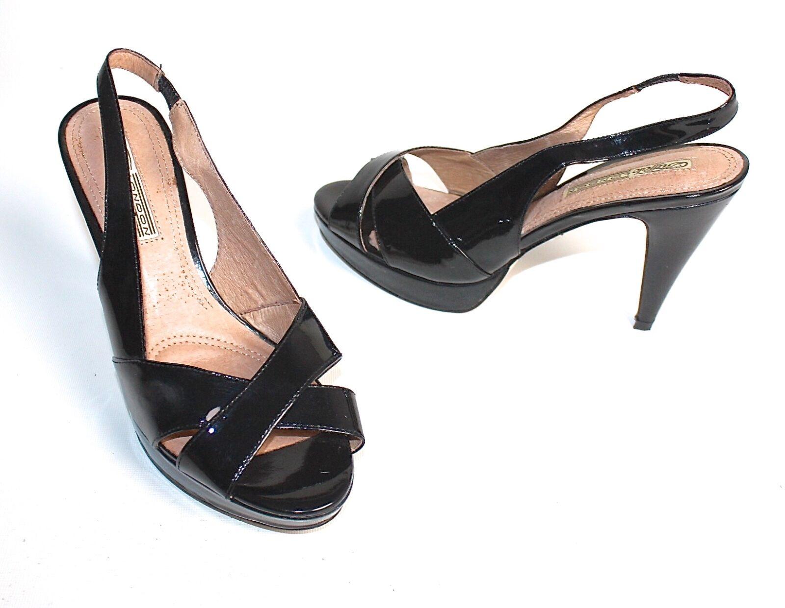 Buffalo londres! con tiras pumps plataforma zapatos charol Black 40 como nuevo!