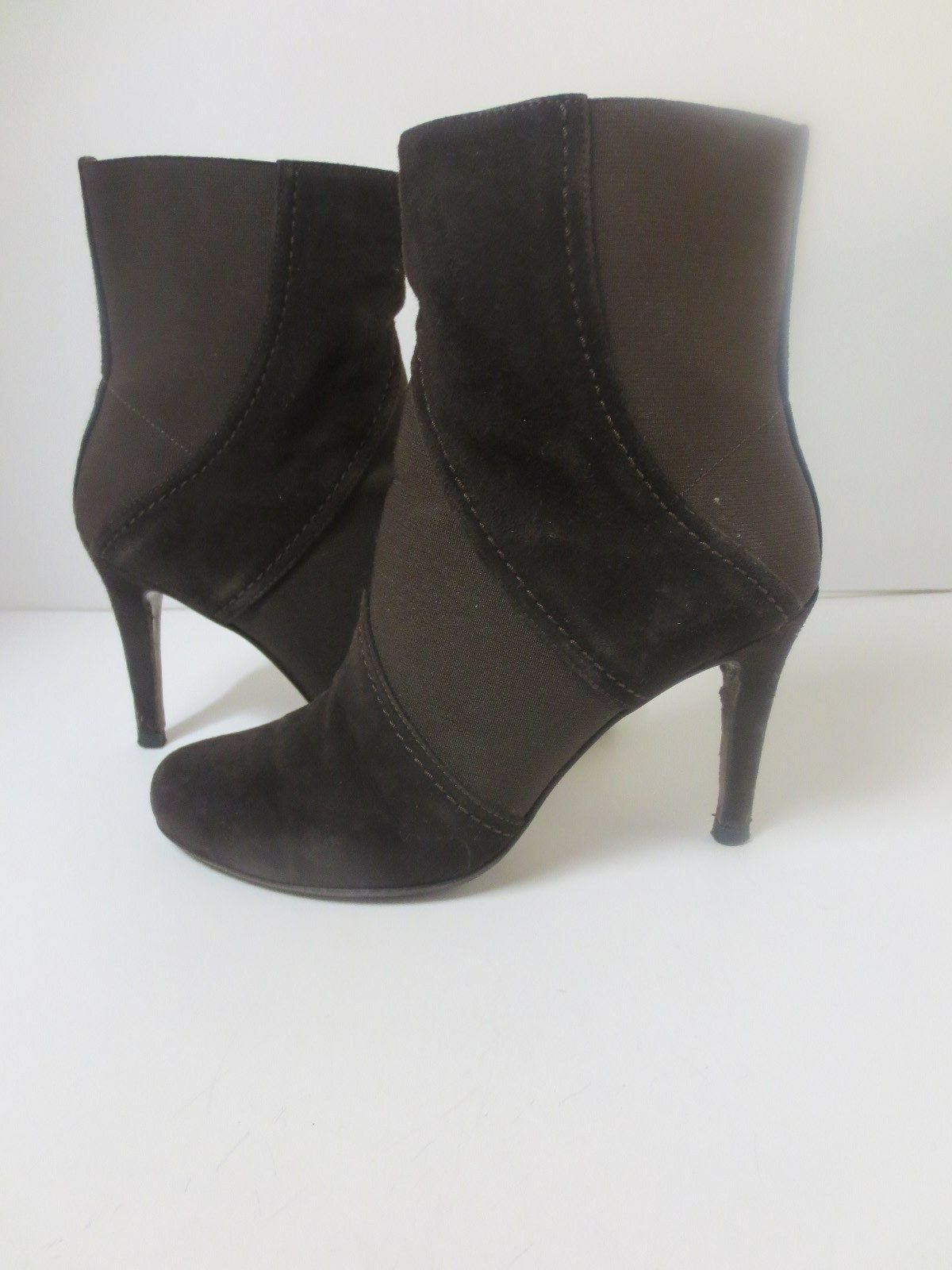 Walter Steiger Brown Suede Elastic Ankle Boots Sz 37