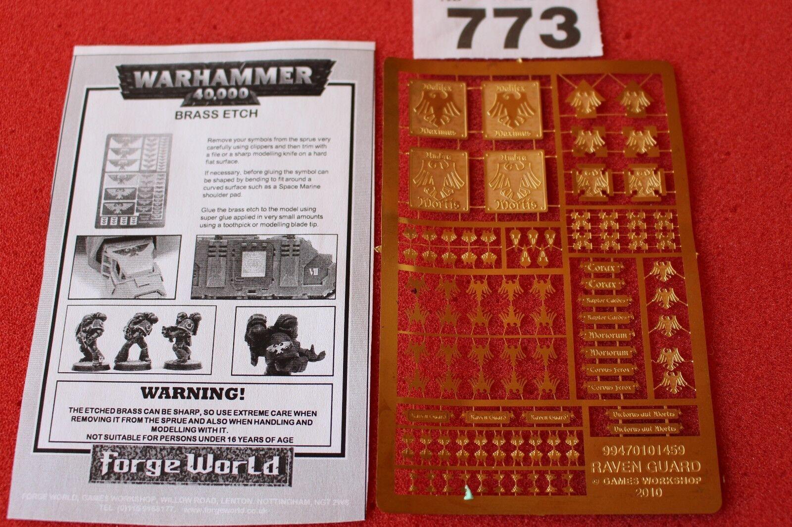 Games Workshop Warhammer 40k Forgeworld Raven Guard Etched Brass New WH40K OOP