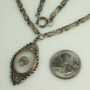 Art-Deco-CAMPHOR-GLASS-Necklace-1930s-STERLING-amp-MARCASITES-16-25-034-Choker-FAB