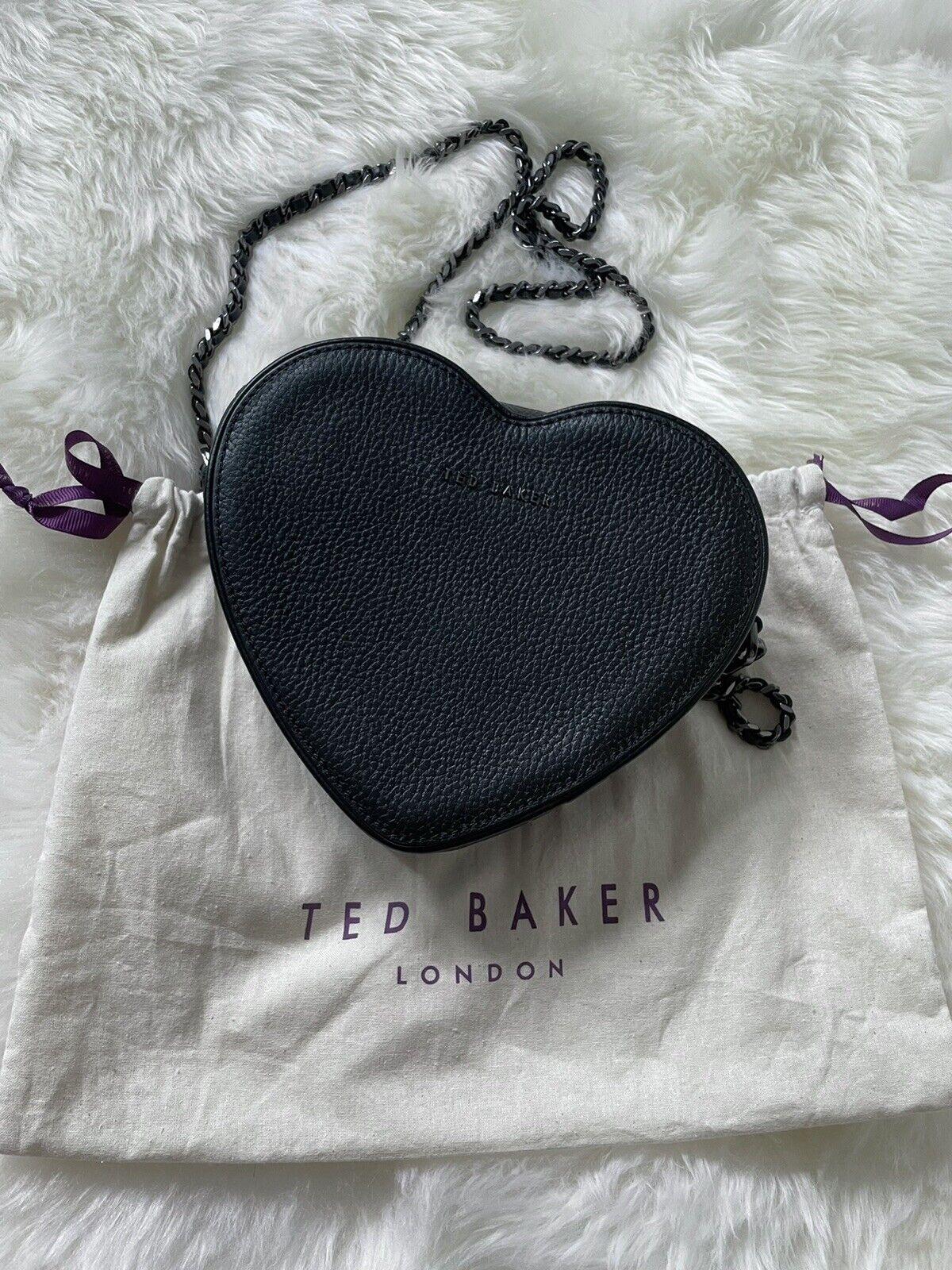 TED BAKER BLACK LEATHER HEART CHAIN ACROSS BODY BAG & DUST BAG