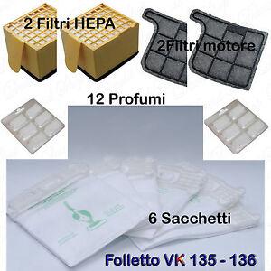 12 PROFUMI+2 FILTRI TELA 2 HEPA CAVO 10M FOLLETTO VK 135 VK 136 12 SACCHETTI