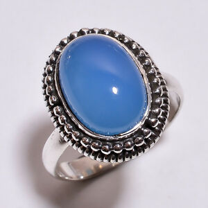 925-Sterling-Silver-Ring-Size-UK-R3-4-Natural-Chalcedony-Gemstone-Jewelry-R3965