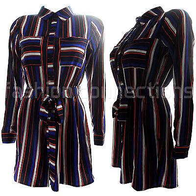 Sinnvoll New Womens Ladies Striped Button Up Collar Playsuit Shirt Style All In One Size Wasserdicht, StoßFest Und Antimagnetisch