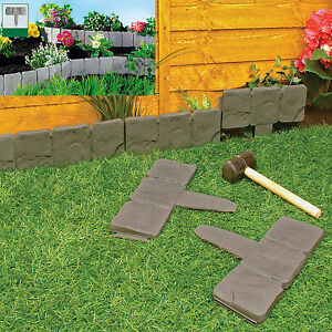Garden Lawn Edging Cobble Stone Plastic Plant Border 8ft 2