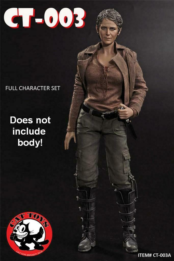 1 6 Scale Walking Dead Carol Head + Clothing Set Melissa McBride Cat Toys CT003