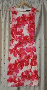 Betty-Jackson-Black-Sleeveless-Stretch-Cotton-Floral-Dress-With-Belt-Size-10