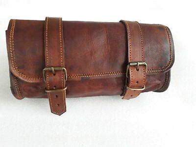 2 bags panniers bag round brown bag Leather Bike Bag pair saddle bag