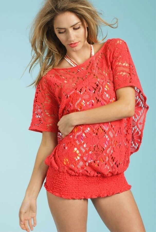 Trina Turk Kuta Crochet Swimsuit Tunic Cover Up, Small