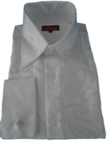 Mens 2035 Sangi Milan Collection Paisley High Collar French Cuff Shirt All White