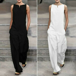 Women-039-s-Fashion-Solid-Loose-Cotton-Sleeveless-Jumpsuits-Pants-Rompers-Playsuits