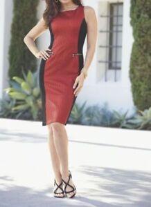 00b8cb53a543 Image is loading Midnight-Velvet-Textured-Inset-Dress-Red-Black-Career-