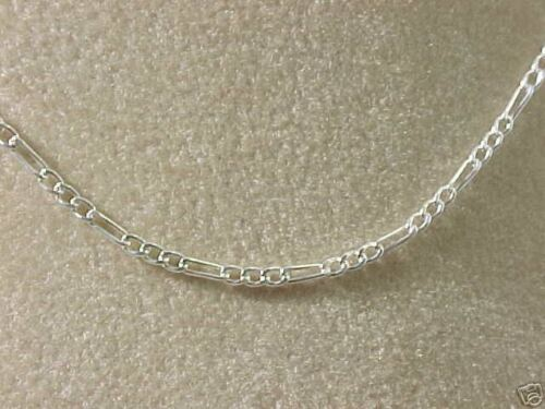 """NEW STERLING SILVER FIGARO CHAIN NECKLACE 1.5mm WIDTH  STRONG LINKS 15/""""  ON SALE"""