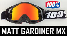 INFERNO RED MIRROR LENS to fit 100% MOTOCROSS GOGGLES ACCURI RACECRAFT tear off