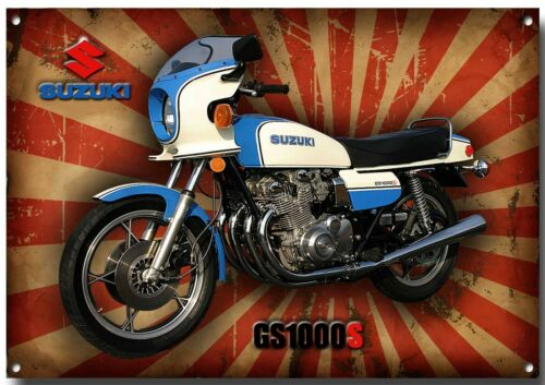 LARGE A3 SIZE SUZUKI CLASSIC GS1000S METAL SIGN,SUPERBIKE,ENAMELLED FINISH.