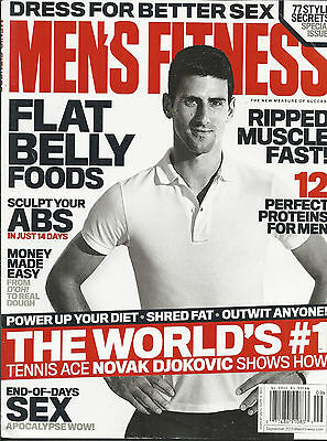Mens Fitness magazine Novak Djokovic Flat belly foods Muscle Protein Easy money