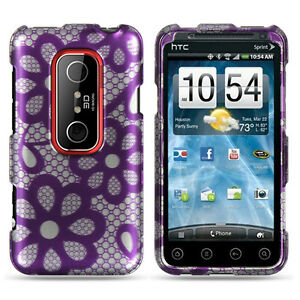 For-Sprint-HTC-EVO-3D-Protector-HARD-Case-Snap-on-Phone-Cover-Purple-Lace-Flower