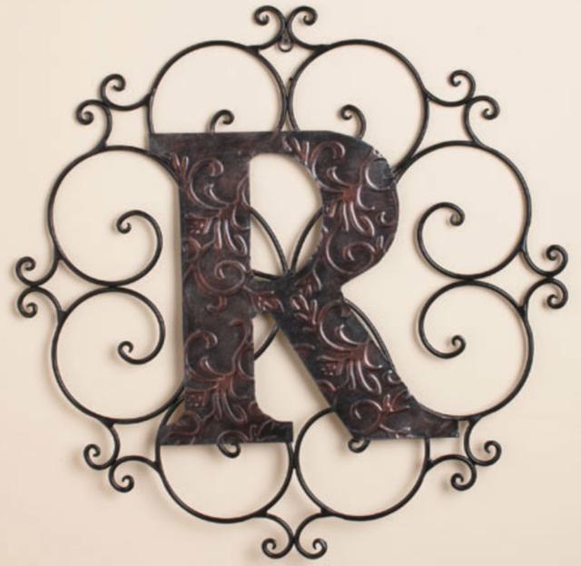 Letter R Wall Hanging Plaque Monogram Living Room Bedroom ...