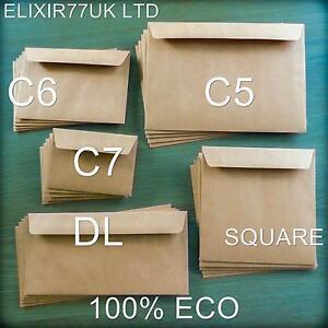 C5-A5-C6-C7-DL-sobres-cuadrados-Kraft-Marron-Artesania-Hacer-Tarjetas-Lote-De-Boda-De-Papel