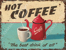 Hot Coffee Metal Sign Vintage Red Kitchen Coffee Server, Retro Pub or Cafe Decor